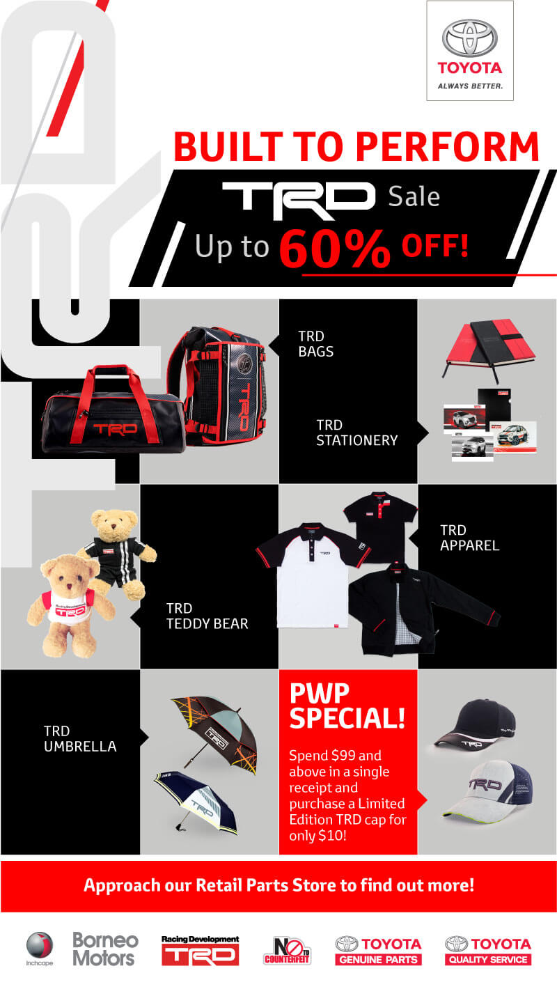TRD Toyota Racing Development Merchandise Sale